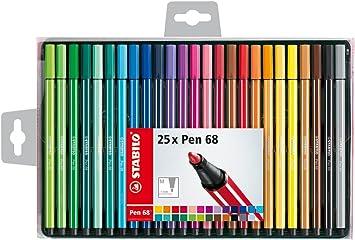 Premium Filzstift Stabilo Pen 68 25er Pack Mit 25 Verschiedenen Farben Bürobedarf Schreibwaren