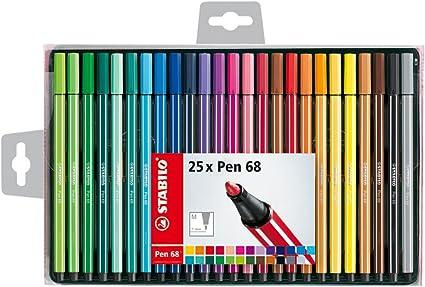 Stabilo Pen 68 – Estuche de 25 rotuladores de punta media – Colores surtidos: Amazon.es: Oficina y papelería