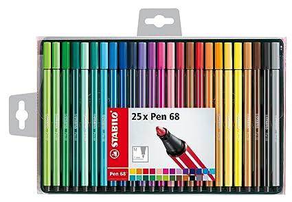 Stabilo Pen 68 – Estuche de 25 rotuladores de punta media – Colores surtidos