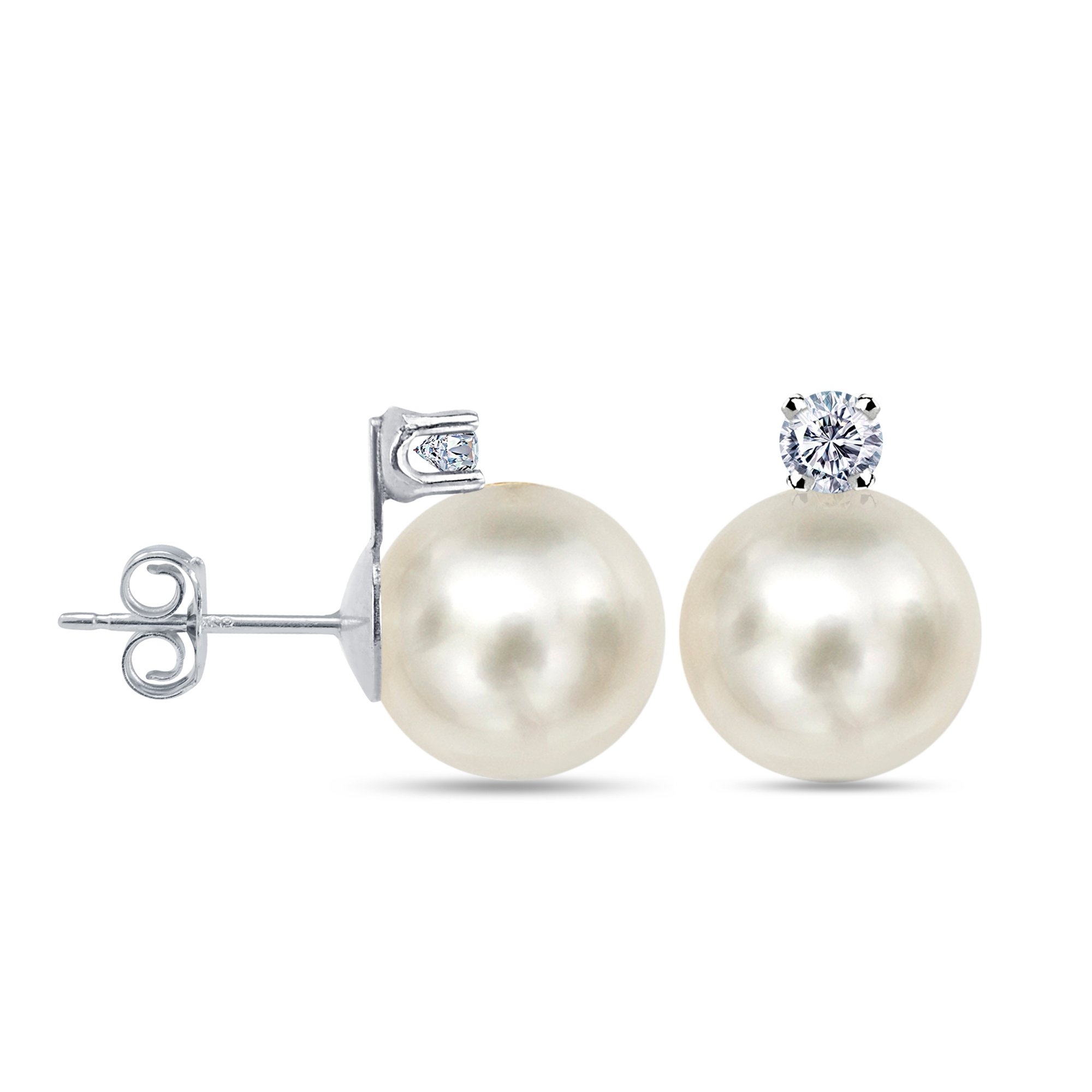 18k White Gold 1/5cttw Diamond with 8-8.5mm Round White Freshwater Cultured Pearl Stud Earrings