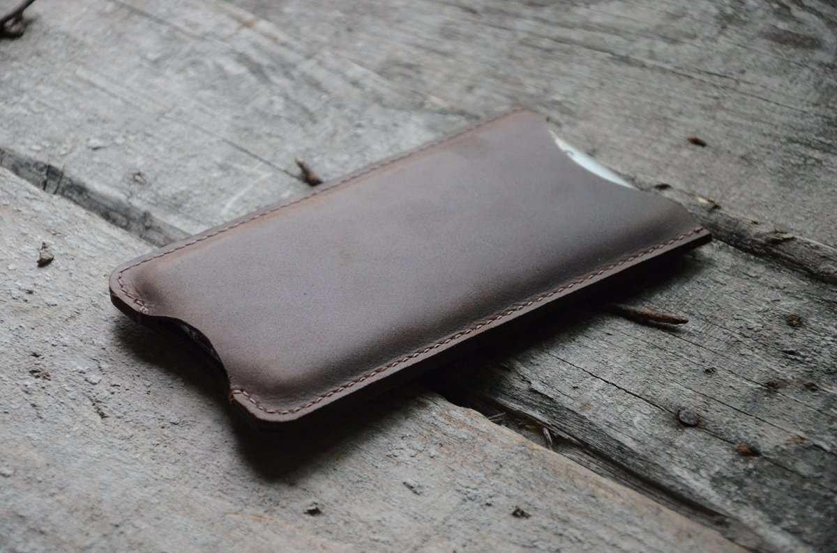 genuinos iPhone 8 / 8 plus de cuero, además de caja de cuero para el caso del iPhone X 6 / 6s caso del iPhone 6 de cuero marrón-oscuro iPhone 7/7 plus más la manga hecha a mano