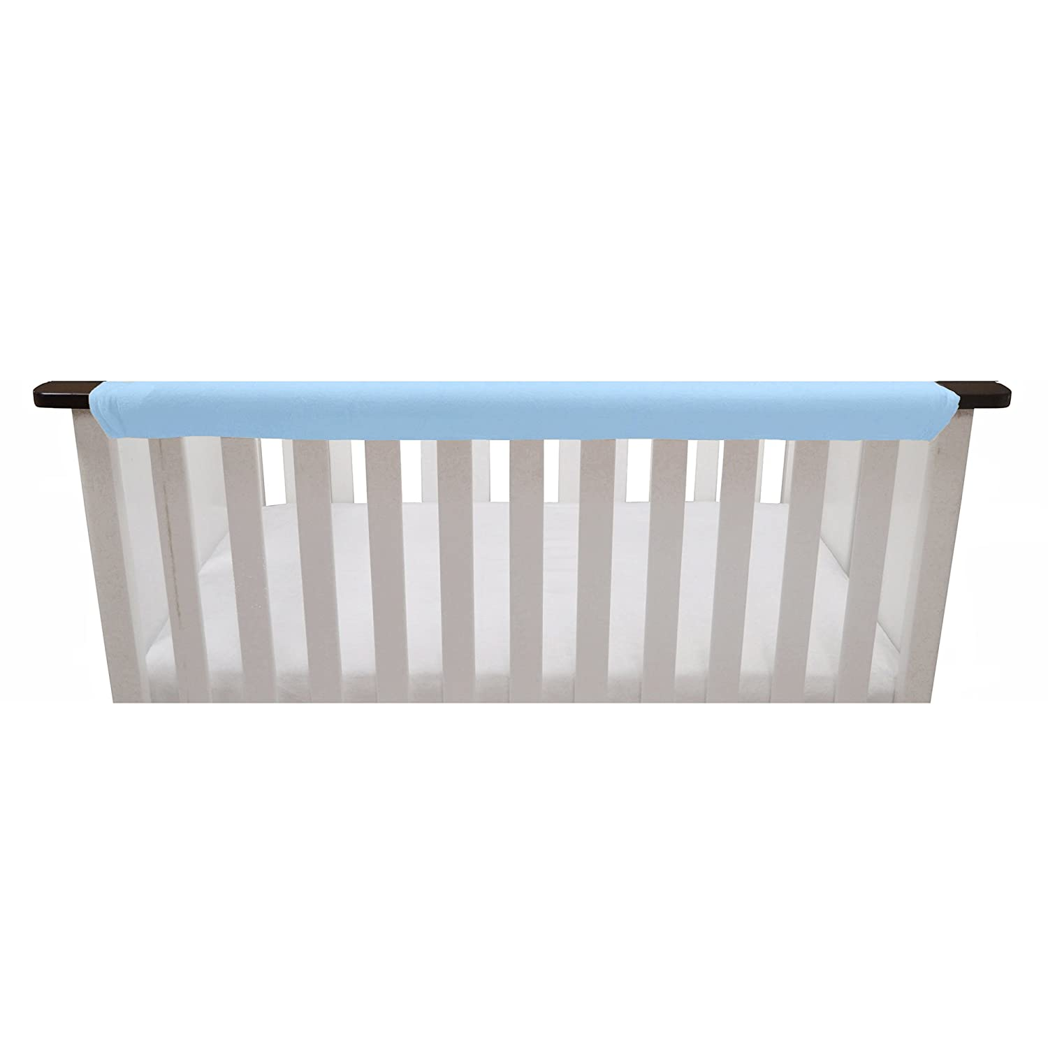 Go Mama Go Organic Teething Guard Protects Baby and Crib, Blue/White, 52