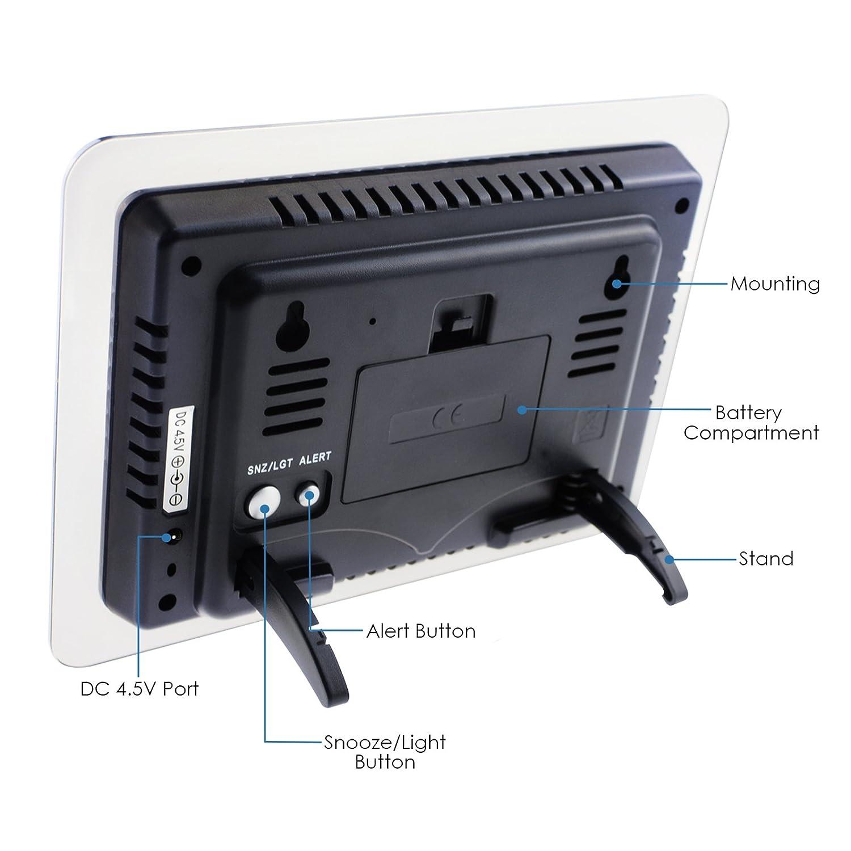 previsi/ón meteorol/ógica Estaci/ón meteorol/ógica inal/ámbrica con 2 sensores remotos para interiores y exteriores temperatura de humedad RCC DCF Moonphase retroiluminaci/ón LED monitor meteorol/ógico