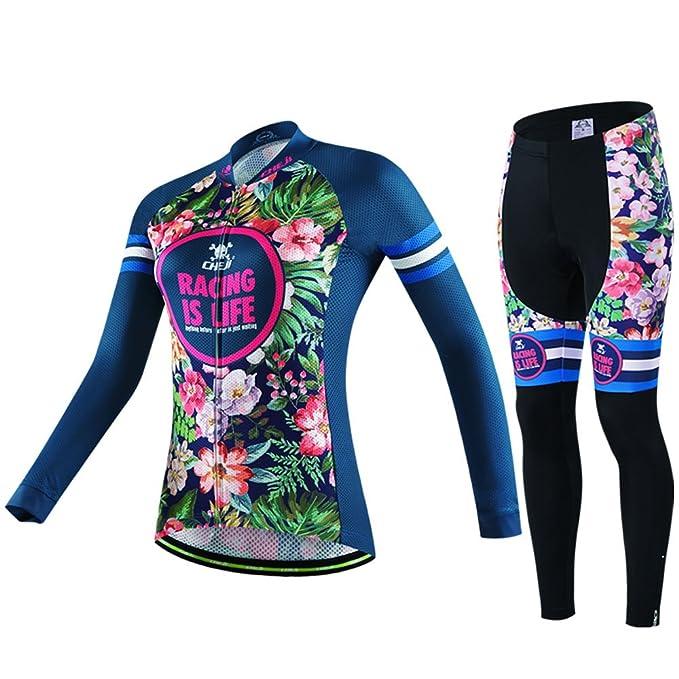 a978be881 Xing Show Blue Butterfly Girls Women s Cycling Bike Bicycle Long Sleeve  Jersey Tops Set +