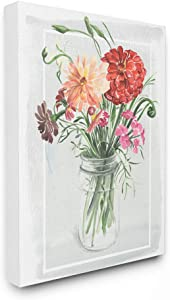 The Stupell Home Décor Collection Summer Zinnia Wildflowers in a Mason Jar Watercolor Painting Stretched Canvas Wall Art, 16 x 20, Multi-Color