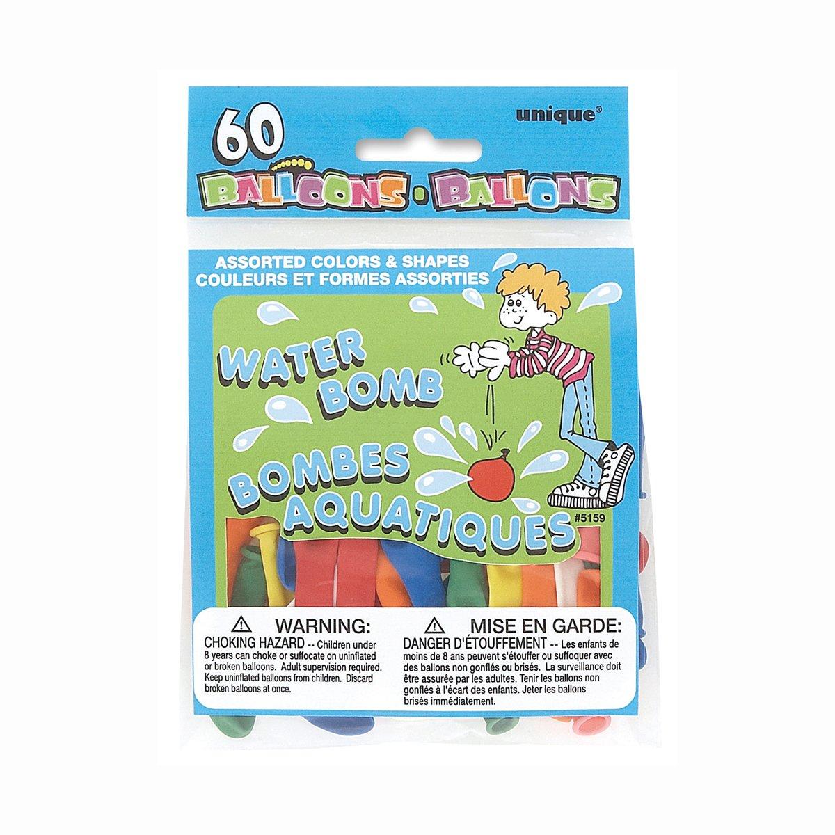 Unique Party - Surtido de Globos de Agua de Látex - Paquete de 60 (5158): Amazon.es: Juguetes y juegos
