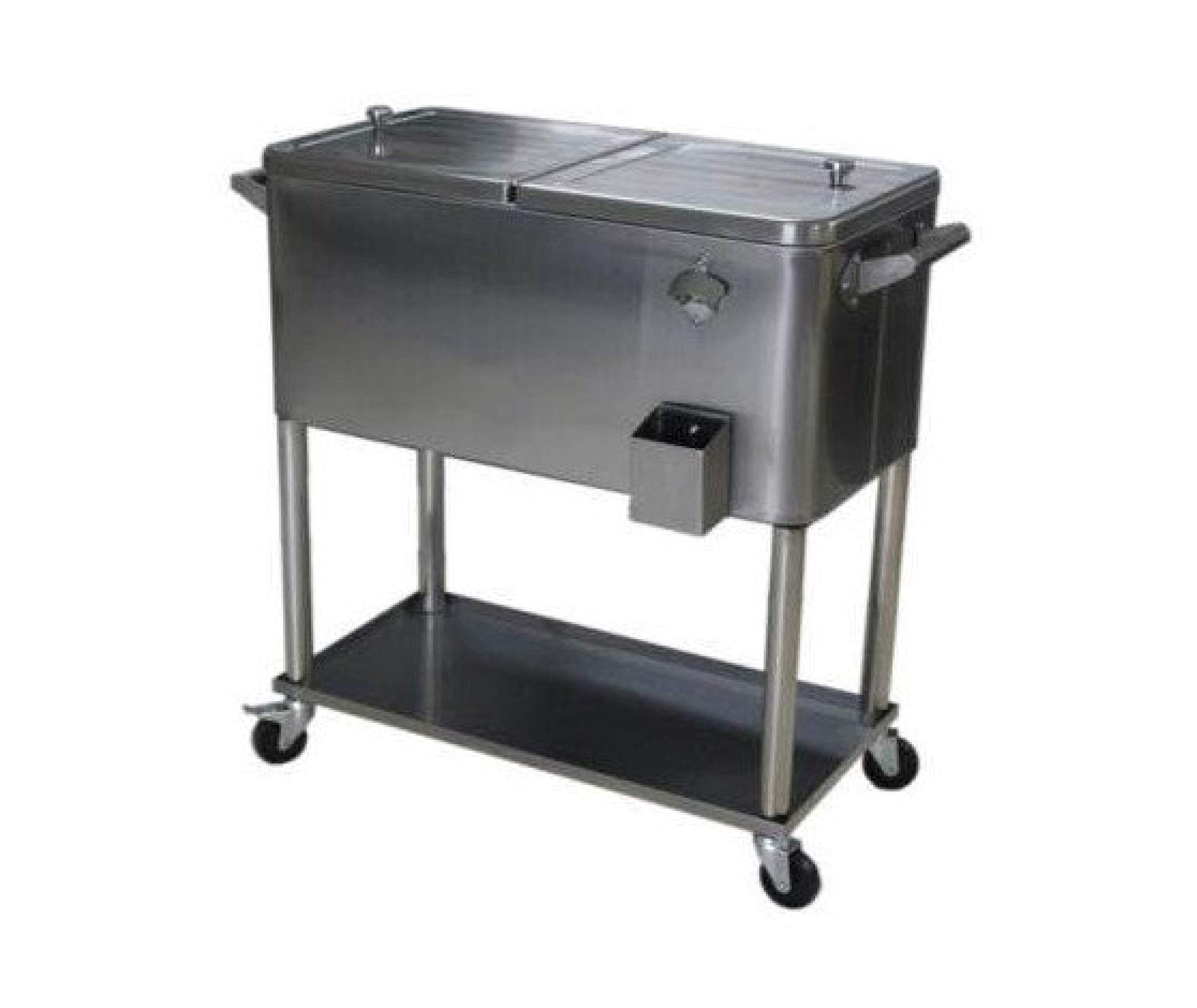 Permasteel PS-206-SS-AM 80 Quart Portable Rolling Patio Cooler, Stainless Steel by Permasteel