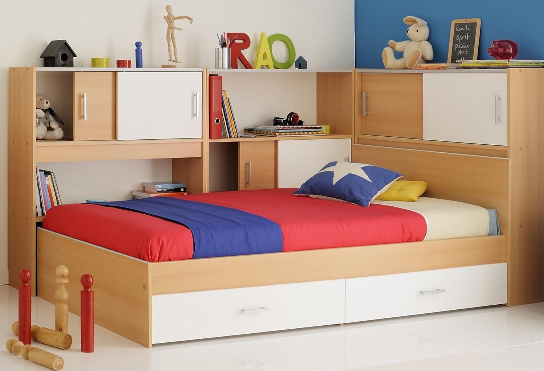 Kinderbett 90x200 Stauraumbett Weiss Samerbergbuche Samerbergbuche