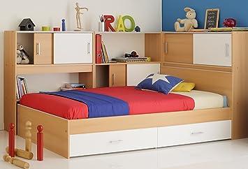 Kinderbett mit stauraum  Kinderbett 90x200 Stauraumbett weiss Samerbergbuche: Amazon.de ...