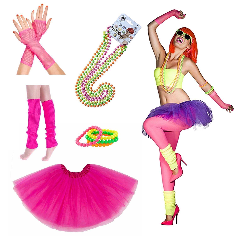 iLoveCos 80er Party Kleid Zubehör Kunststoff Neon Erwachsener Tutu ...