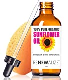 ORGANIC SUNFLOWER SEED OIL MOISTURIZER - 4oz size | All Natural Cold Pressed 100 Pure - High Linoleic | Best for Acne Prone Oily Skin and Face | Daily or Nighttime Facial Regimen for Men & Women