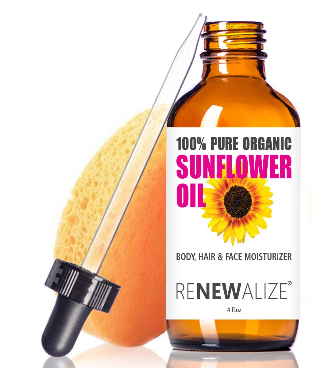 Organic Sunflower Seed Oil MOISTURIZER - 4oz Size | All Natural Cold Pressed 100 Pure - High Linoleic | Best for Acne Prone Oily Skin and Face | Daily or Nighttime Facial Regimen for Men & Women Renewalize