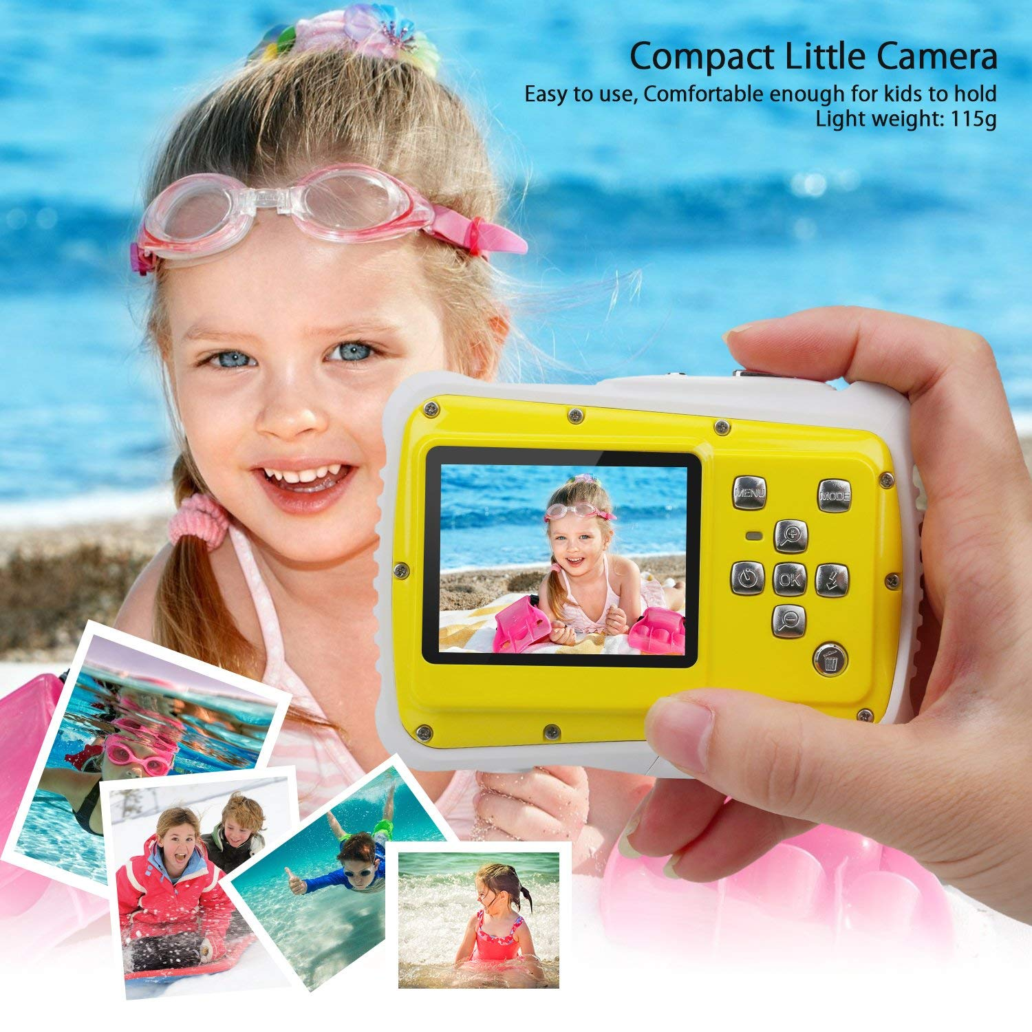 Kndio Kids Camera,Waterproof Camera for Kids Underwater Action Camera Camcorder with 12MP HD 8X Digital Zoom Flash Mic 2.0 Inch LCD Display with 8G SD Card 3 Non-Rechargeable Batteries Included by Kndio (Image #7)
