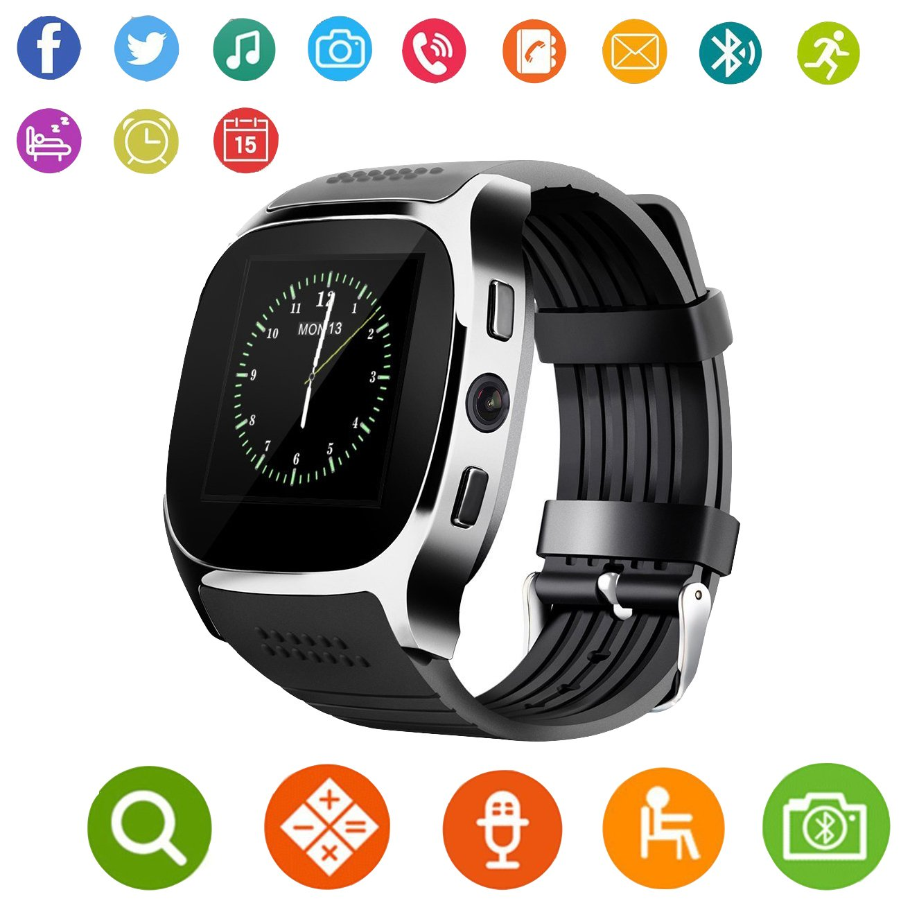 Aaliyah New T8 Smart Watches Support SIM &TF Card with Camera Sync Call Message Men Women Smartwatch Bluetooth Watch for Android (White)