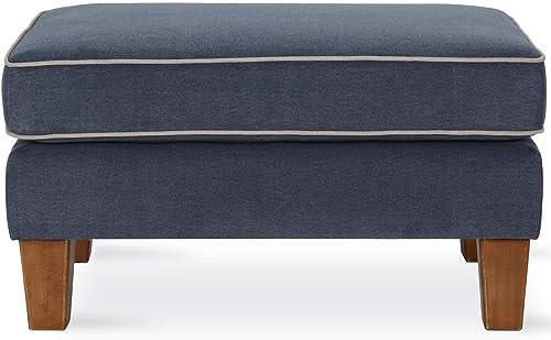 Novogratz Bowen Contrast Welting, Blue Ottoman,