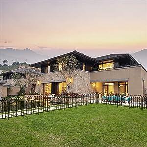 UKN Beautiful Oval Top Iron Art Garden Fence Black Mid-Century Modern Finish Energy Efficient