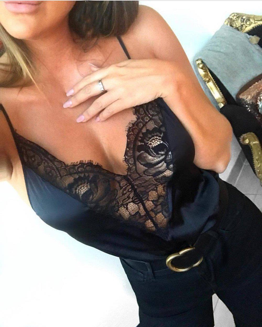 2019 Women Tank Blouse T-Shirt,Ladies Lace Vest Sleeveless Loose Crop Tops (M, Black) by Woaills-Dress (Image #6)