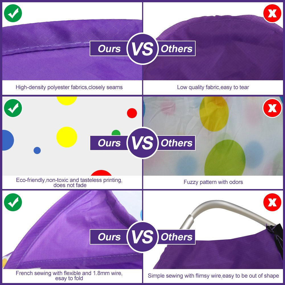 Kids Ball Pit, Karida Large Pop Up Toddler Ball Pits Tent for Toddlers, Children for Indoor Outdoor Baby Ball Pool Playpen with Zipper Storage Bag, Balls Not Included (Purple) by Karida (Image #3)