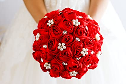 Red Rose Wedding Bouqet.Ivory Blue Coral T Blue Red Rose Flower Bridal Brooch Bouquet Wedding Bride S Jewelry Crystal Pearl Rhinestone Cloth Fabric Bouquets Red
