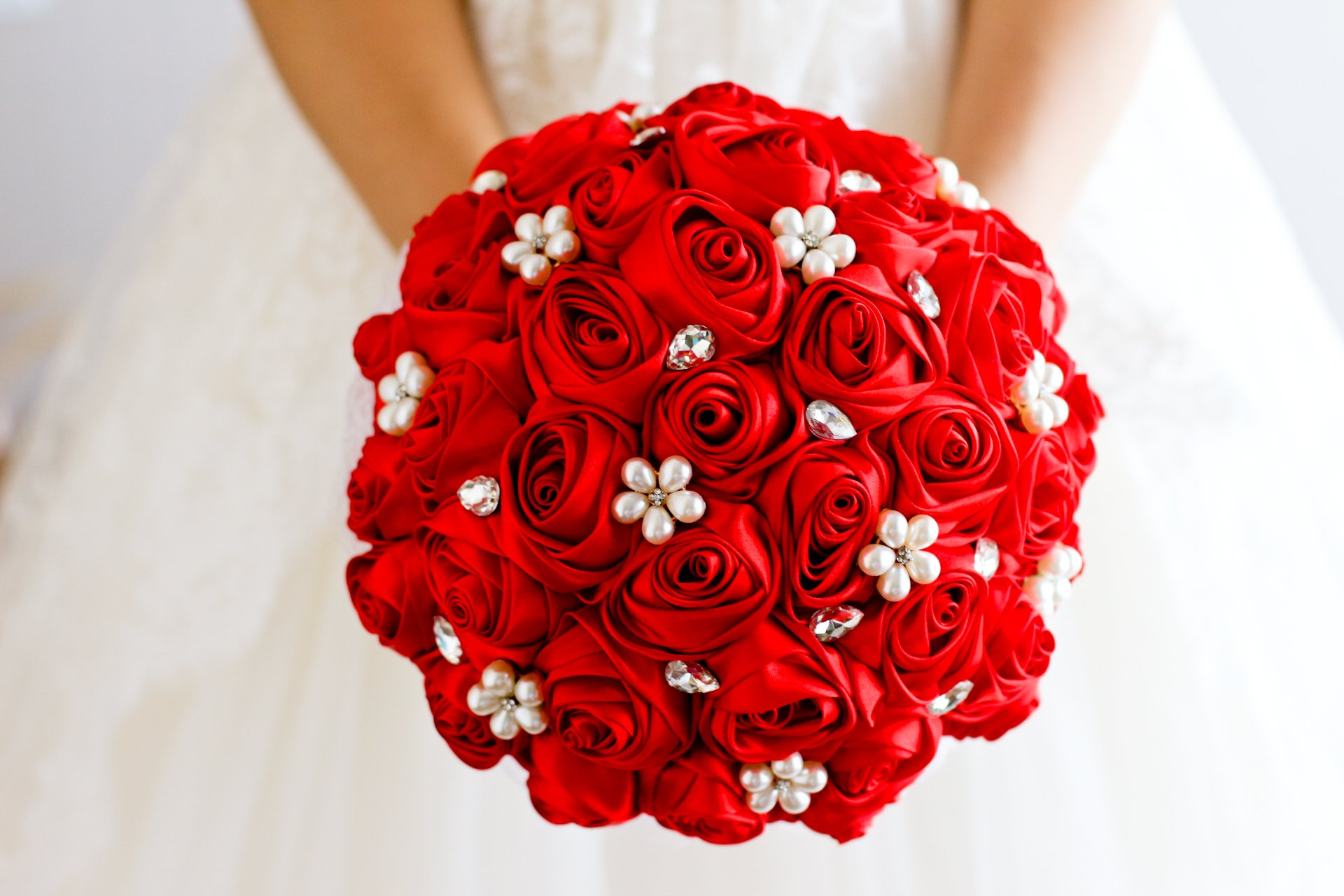 Ivory, blue, coral, T blue,Red Rose flower bridal brooch bouquet Wedding Bride 's Jewelry crystal Pearl Rhinestone Cloth fabric Bouquets (red)