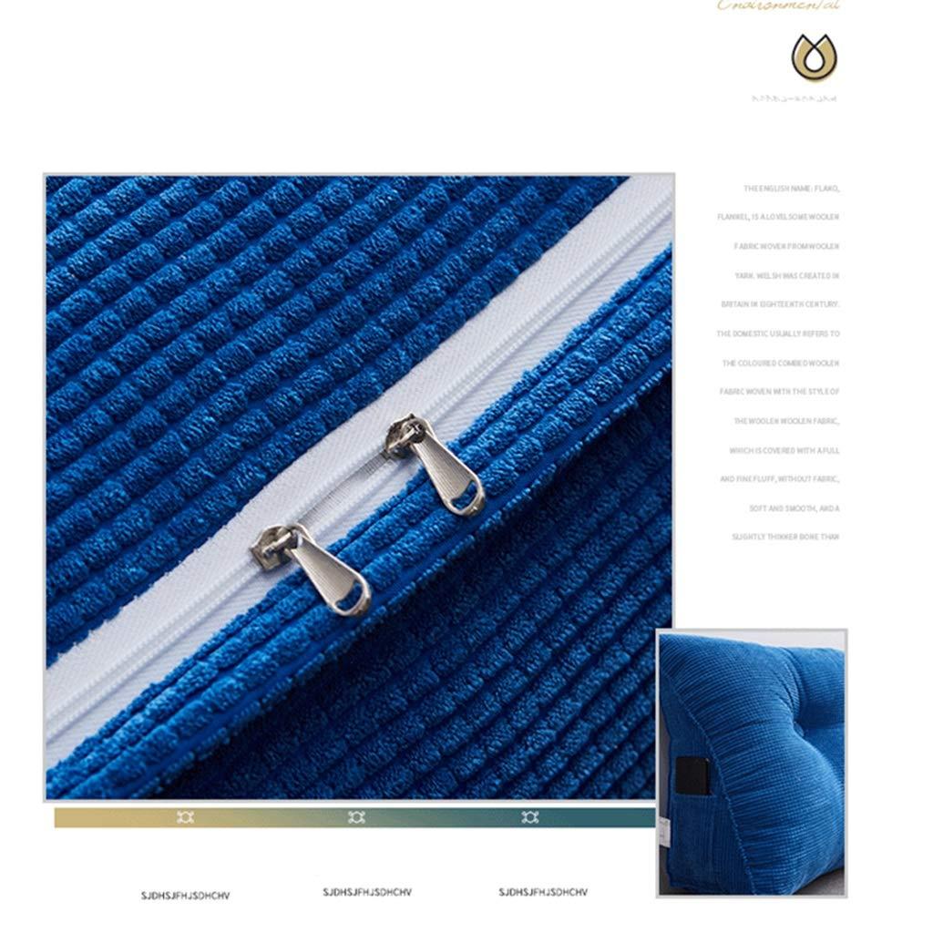 Color : Denim Blue, Size : 50 * 20 * 48 W-KD Cu/ña Almohada Tri/ángulo Almohada Dormitorio Cama Doble Respaldo Almohada Lumbar Almohadilla For Oficina Sof/á Cama