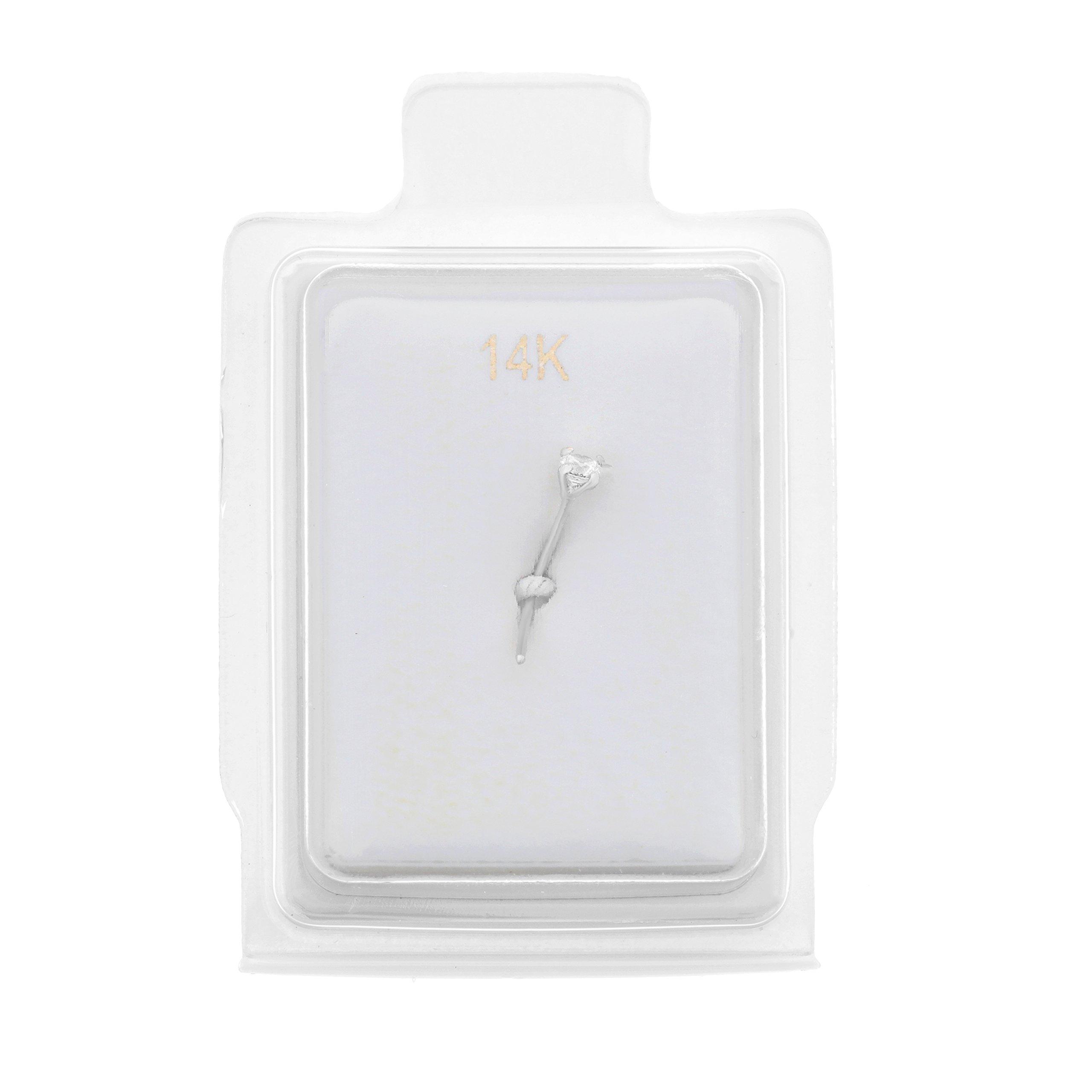 14K White Gold 2mm White Cubic Zirconium Nose Ring L-Shape 22G