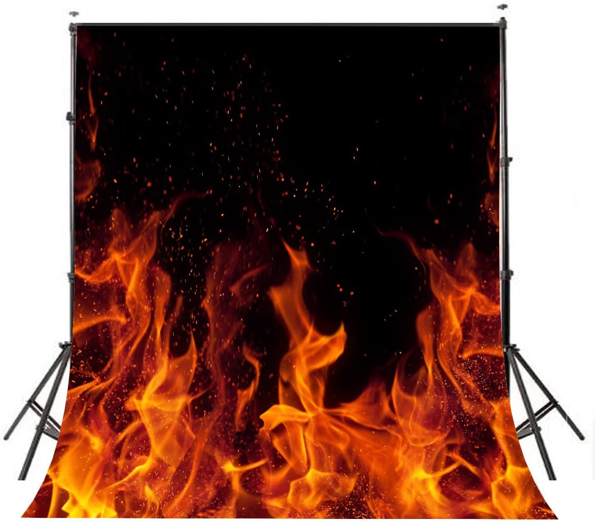 LYLYCTY Raging Dancing Fire Photography Backdrops 5x7ft Black Background for Picture Photo Studio Props dw225