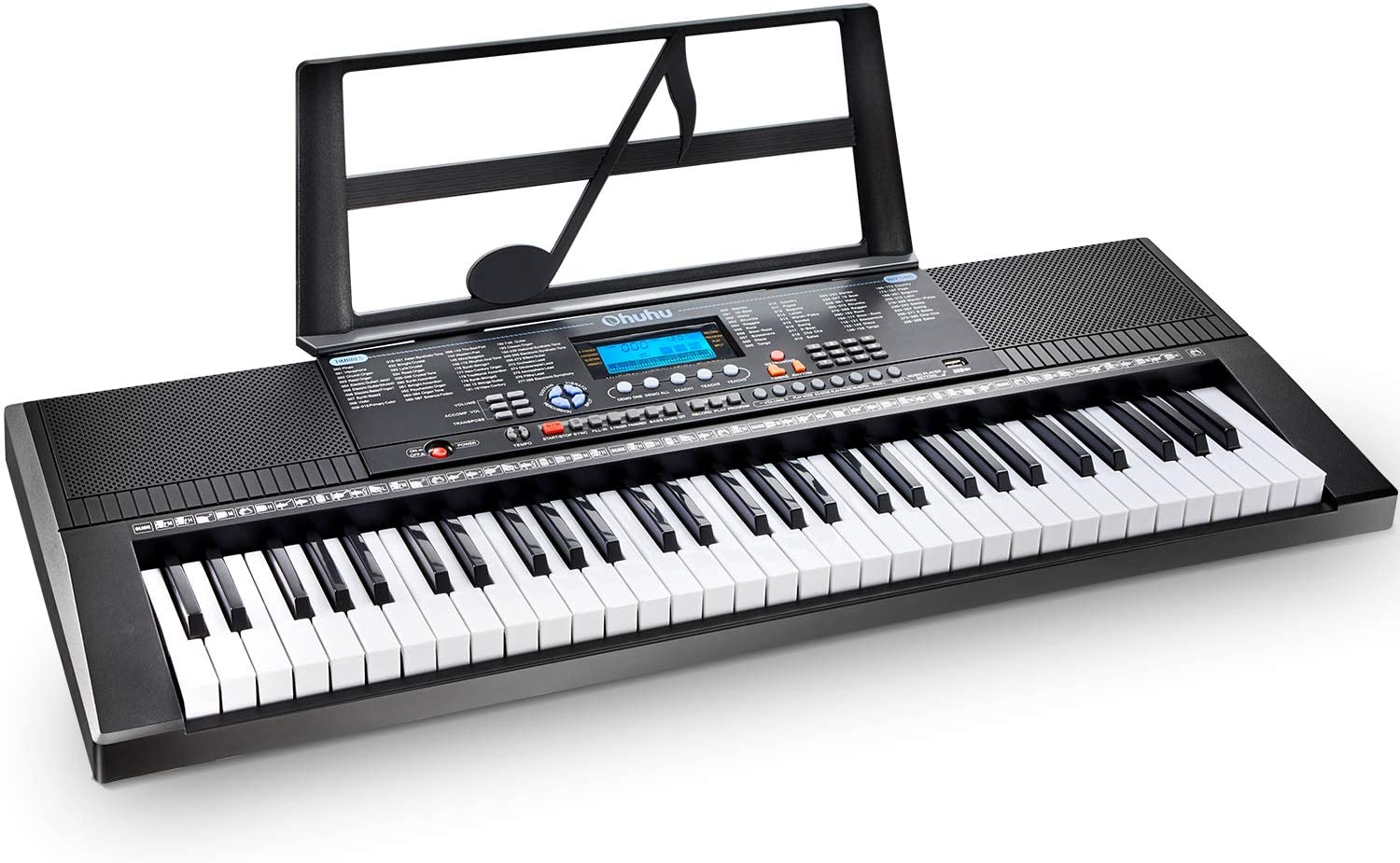 Amazon Com Electric Keyboard Piano 61 Key Ohuhu Musical Piano Keyboard With Headphone Jack Usb Port Teaching Modes For Beginners Musical Instruments