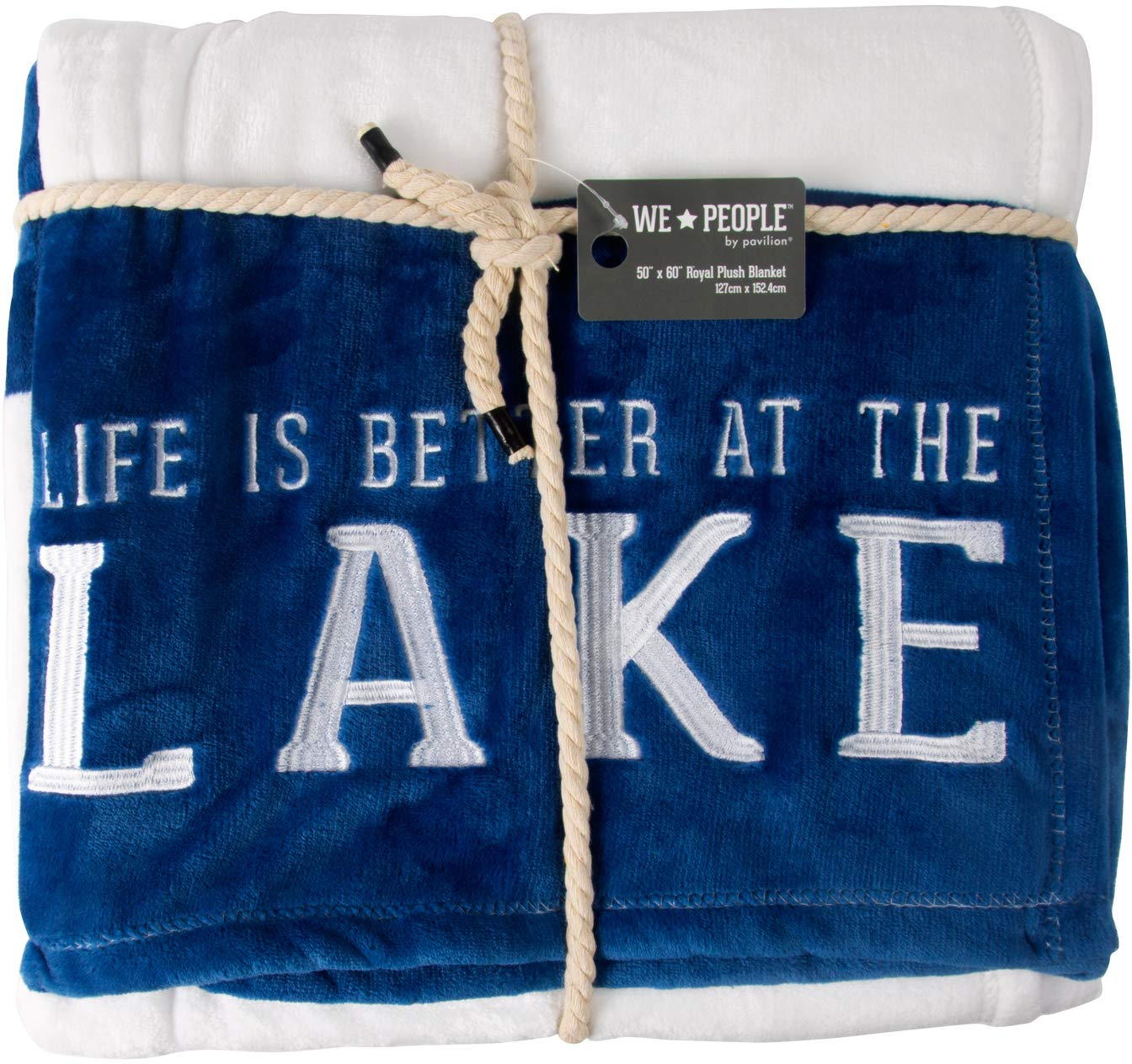 Pavilion Gift Company Life is Better at The Lake White Super Soft Striped Throw Blanket with Embroidered Text 50'' x 60'' Royal Plush, 50 x 60 inch, Blue