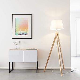 Lightbox Lámpara de pie con 3 patas, 1 x E27 máx. 60 W de madera/textil en madera claro/blanco: Amazon.es: Iluminación