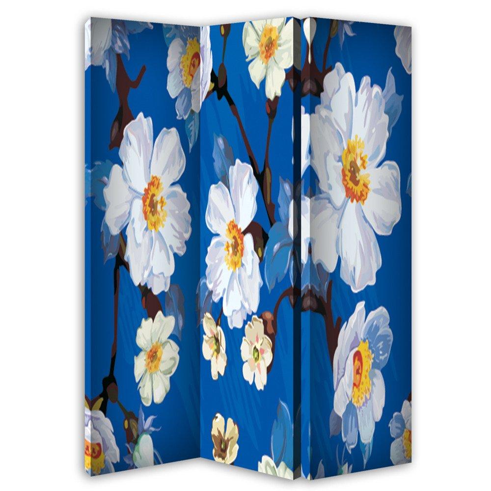 PARAVENT FLEURS BLANCHES BLEUES 120 x 150 cm 3 volets RECTO (une face)
