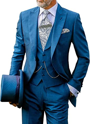 Loveetoo 3 Piece Royal Blue Groom Tuxedos Slim Men S Wedding Suits Formal Business Blazer 44us Uk 54eu Jacket 38 Pants Royal Blue Amazon Co Uk Clothing