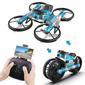 Makerfire 2 en 1 RC Plegable Drone con Cámara y Motocicleta Wi-Fi ...