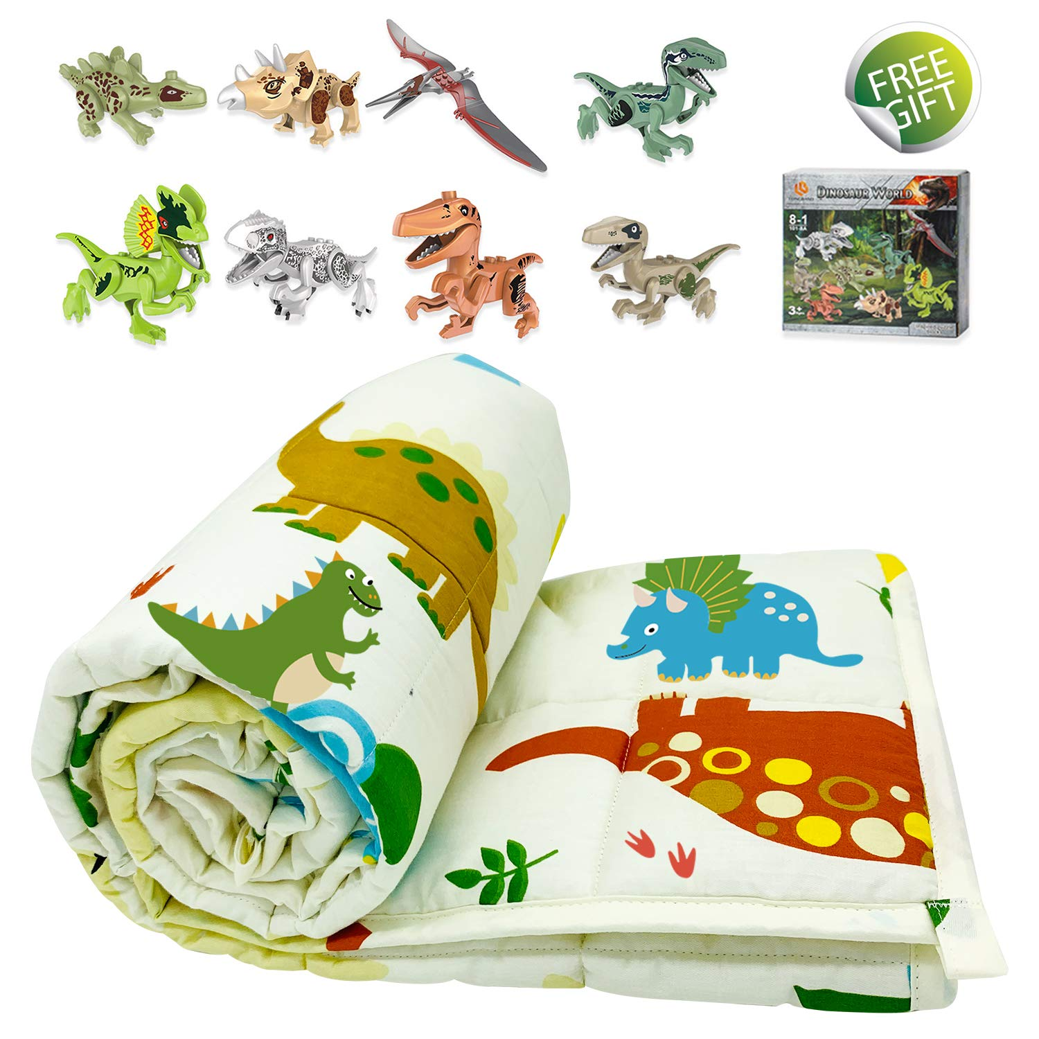 TerriTrophy Kids Weighted Blanket 5lbs,36 x 48inches, with Dinosaur Blocks, 100% Cotton Heavy Weighted Blanket for Kids and Toddlers Gift for Boys Girls Children by TerriTrophy