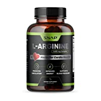 Snap L Arginine Supplement 1655mg Blood Circulation Supplements with L Citrulline, Nitric Oxide for Natural Energy- L Arginine Capsules, Amino Acids and Herbs for Cardio Health (60 Capsules)