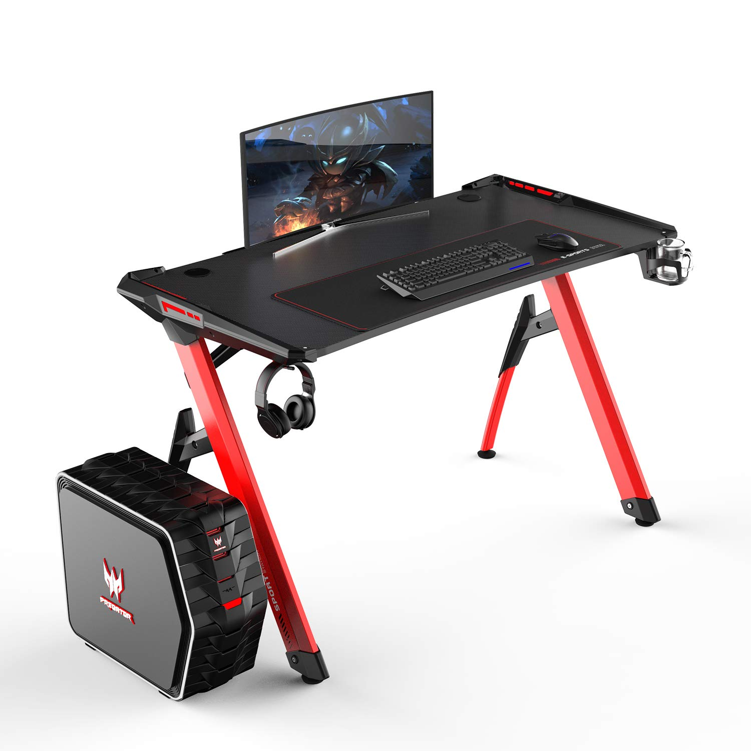 soges Ergonomic Gaming Desk R3 Pro, 47 inches Modern Computer Desk Gamer Tables with Cup Holder, RGB LED Lights and Extra Large Mouse Pad, Red, R3-Pro-RD