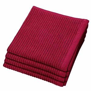 Now Designs Ripple Kitchen Dishcloth, Set of 4, Carmine Red