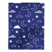 Minky Baby Blanket 30  x 40  Soft Plush Double Layer Fleece Fabric Swaddle Blanket for Newborns and Toddler Kids Crib Bedding, Nursery, Security (Navy Blue, Stars and Clouds)