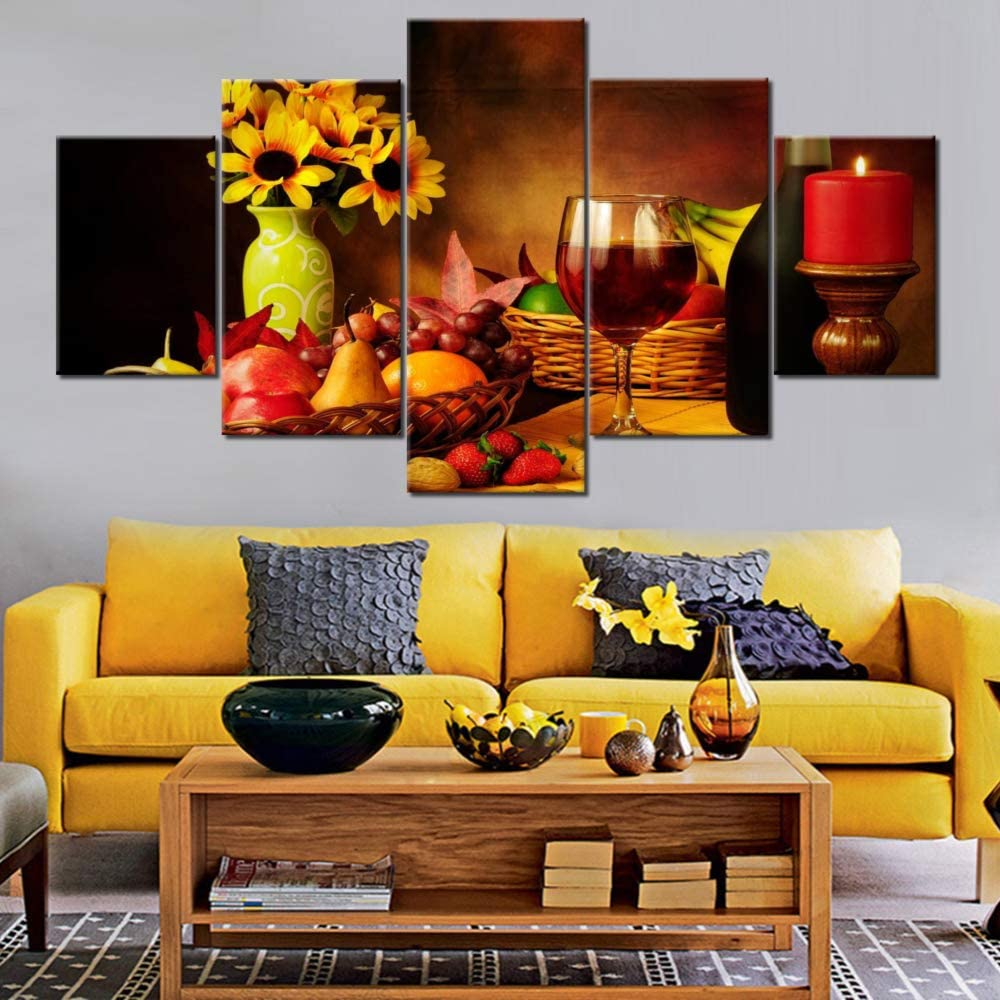 Red Wine Art Work for Home Walls 5 Panel Red Candle Paintings HD Prints Colorful Fruit and Wine Wall Art on Canvas Sunflower Pictures for Living Room Framed Gallery-Wrapped Ready to Hang(60''Wx32''H)