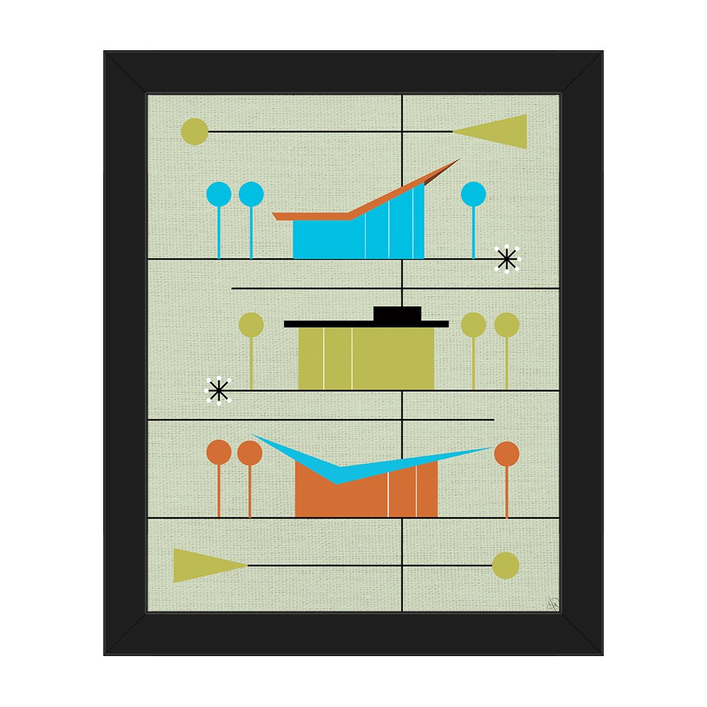 Retro Neighborhood Green: Mid-Century Retro Modern Postmodern Geometric  Shapes Abstract Painting Drawing Illustration of Ranch Houses Wall Art  Print ...