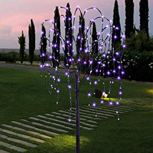 FUCHSUN Led Solar Willow Tree 4.6 FT Garden Pathway Light for Outdoor Decoration 200 Led Branch Tree for Party Wedding Holiday (Purple)