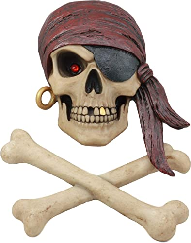 Ebros Day Of The Dead Red Eyed Bandana Pirate Skull