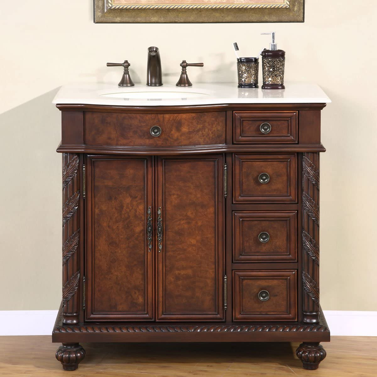 Silkroad Exclusive Marble Top Single Left Sink Bathroom Vanity with Furniture Cabinet, 36 , Medium Wood