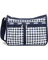 LeSportsac Deluxe Everyday Handbag (One Size, Gingham Classic Navy)