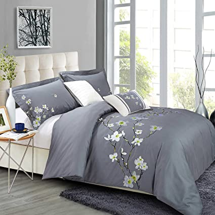 Amazon Com North Home Verona05dcqn 100 Cotton Duvet Cover Queen