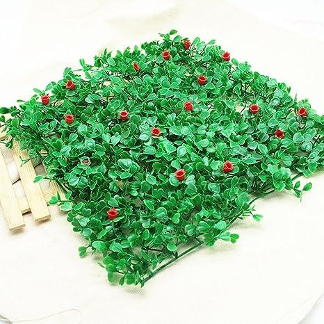 Hunpta acuario pecera paisaje con orquídea de arroz simulación césped (verde + rojo)