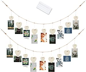 Hanging Photo Picture Display 30 Inch Twine with 9 Wooden Heart Shape Clothespins & Removable Reusable Multipurpose Mounting Adhesive Tacky Poster Putty Best Dorm Room Wall Home School Décor - 2 Sets