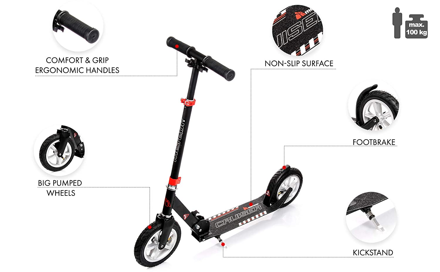 meteor Kick Scooter Mobility Folding Scooter Roller Scooter for Adults /& Children Very Durable Up to 100 kg Pumped Scooter City