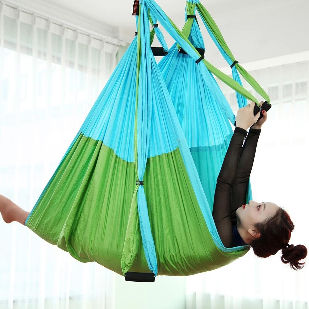 Chilly Aerial Yoga Swing Set - Yoga Hammock/Trapeze/Sling Kit + Extension Straps - Antigravity Ceiling Hanging Yoga Sling - Inversion Swing