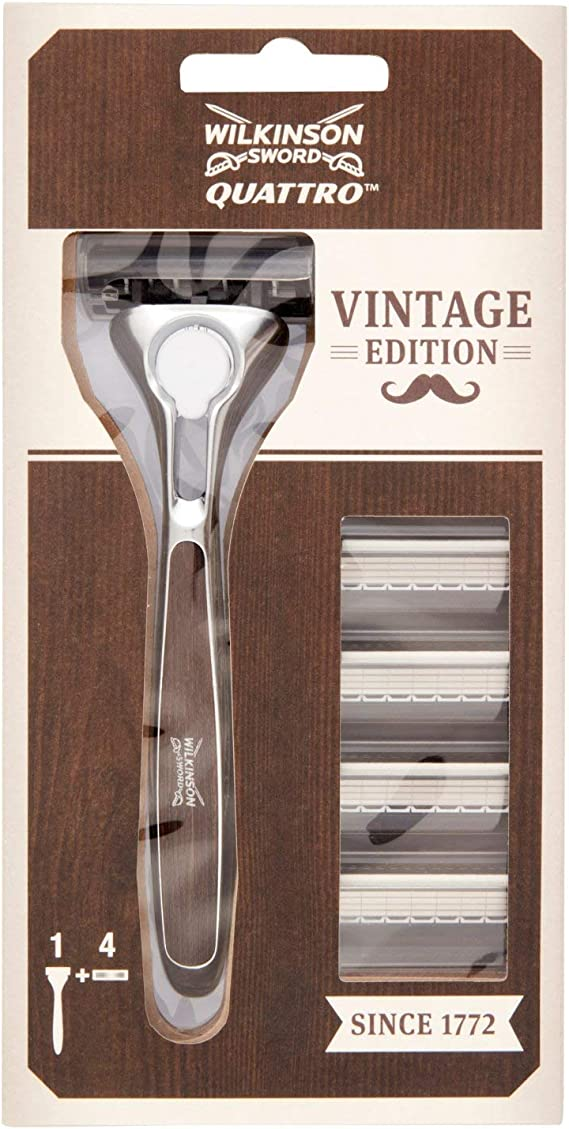 Wilkinson Sword Quattro Vintage Edition - Pack de Maquinilla de Afeitar de 4 Hojas para Hombre + 4 Recambios de Cuchillas, Diseño Especial Afeitado Clásico: Amazon.es: Salud y cuidado personal